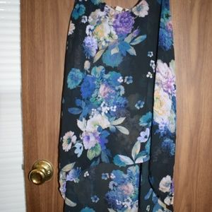 Black And Blue Floral High Low Tank Top M